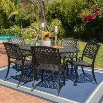 Christopher Knight Home Carysfort 7pc Aluminum Dining Set - Black Sand