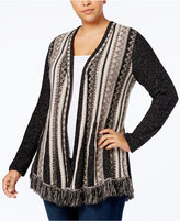 Style&Co. Style & Co Plus Size Printed Fringed Open-Front Cardigan, Created for Macy's