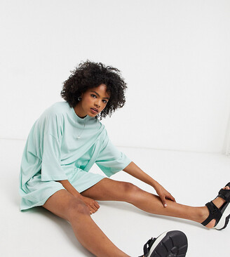 Weekday Huge organic cotton oversized t-shirt dress in sea foam green
