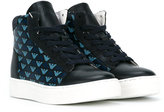Armani Junior logo print hi-top sneakers - kids - Leather/rubber - 28