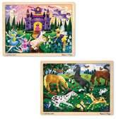 Melissa & Doug ; Wooden Jigsaw Puzzles Set - Fairy Princess Castle and Horses