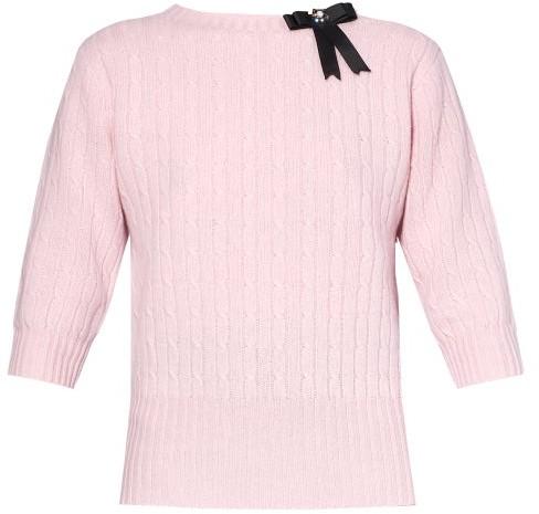 Erdem Avice Crystal-bow Merino-wool Blend Sweater - Light Pink