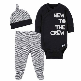 Gerber Baby Boy Long Sleeve Onesies Bodysuit, Pants & Cap, 3-Piece Set