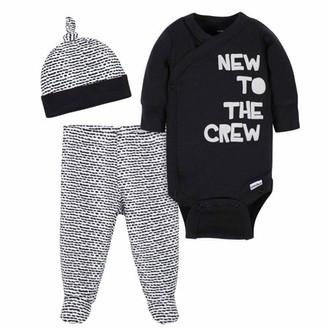 Gerber Baby Boy Long Sleeve Onesies Bodysuit, Pants & Cap, 3pc Outfit Set