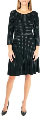 Nina Leonard Dot Pattern 3/4 Sleeve Sweater Dress