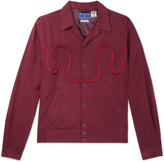 Blue Blue Japan Camp-Collar Braid-Embellished Twill Shirt Jacket