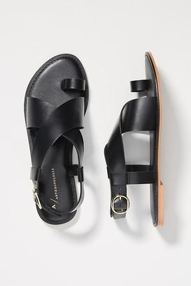 Anthropologie Perdita Toe-Loop Sandals By in Black Size 6