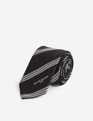 Givenchy Diagonal-stripe ribbed-weave silk tie