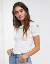 Monki ribbed crop t-shirt in white