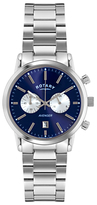 Rotary Gb02730/05 Sports Avenger Chronograph Stainless Steel Bracelet Strap Watch, Silver/blue