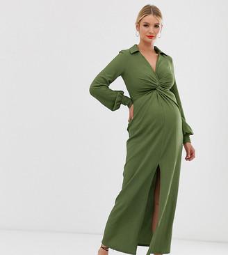 ASOS DESIGN Maternity textured drape shirt maxi dress with knot detail