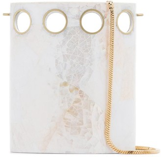Nathalie Trad white Golding shell clutch