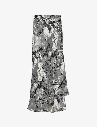 Topshop Boutique floral-print wrap satin maxi skirt