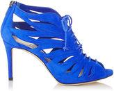 Jimmy Choo KEENA 85 Cobalt Suede Sandal Booties