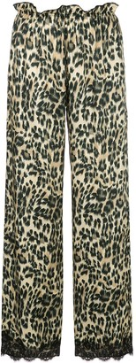 Icons leopard lace trim trousers