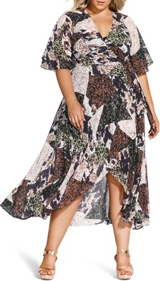 City Chic Entanglement Printed Wrap Maxi Dress (Plus Size)