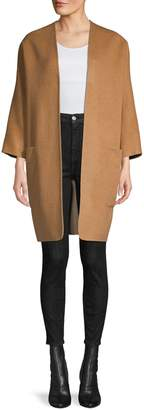 Vince Reversible Open-Front Wool-Blend Coat