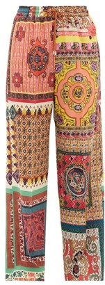 Etro Patchwork-print Silk-crepe Trousers - Womens - Red Multi