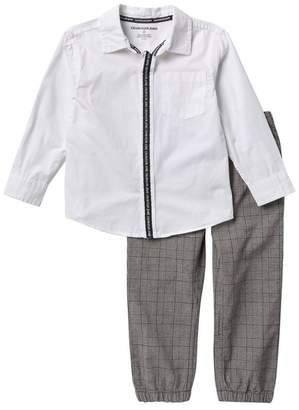 Calvin Klein Woven Shirt & Plaid Pants Set (Little Boys)