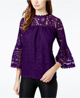 Kensie Floral-Lace Illusion Top