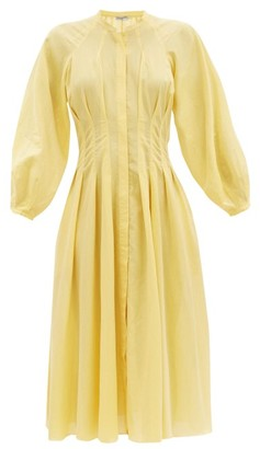 Three Graces London Valeraine Balloon-sleeved Cotton-gauze Shirt Dress - Yellow