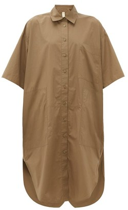Lee Mathews - Workroom Patch Pocket Cotton Poplin Shirtdress - Womens - Khaki