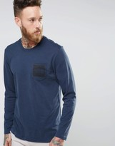 The North Face T-Shirt With Logo Pocket Print In Navy