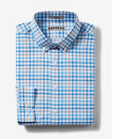 Express fitted plaid tech easy care button down collar dress shirt