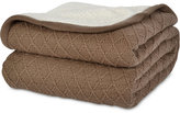 Berkshire Reversible Diamond-Knit to Sherpa Fleece Twin Blanket Bedding