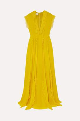 Giambattista Valli Ruffled Lace-trimmed Silk-georgette Gown - Saffron