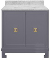 The Well Appointed House Worlds Away Candance Grey Lacquered Vanity with Gold Leaf Hardware