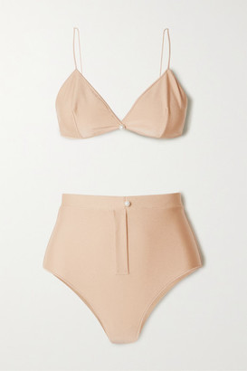 Oseree Faux Pearl-embellished Bikini - Neutral