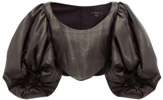 Ellery Sister Morphine Balloon-sleeve Faux-leather Top - Womens - Black