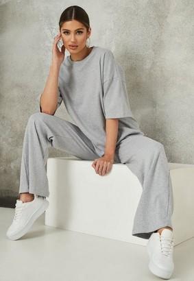 Missguided Rib T Shirt Wide Leg Co ord Set