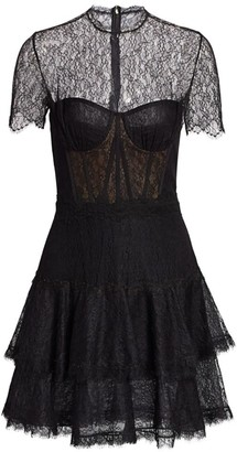 Jonathan Simkhai Lace & Ruffles A-Line Bustier Dress