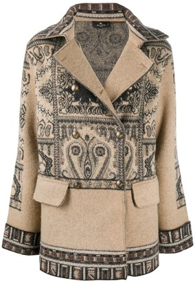 Etro Wool Printed Pea Coat