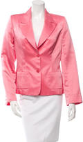 Monique Lhuillier Notch-Lapel Satin Blazer