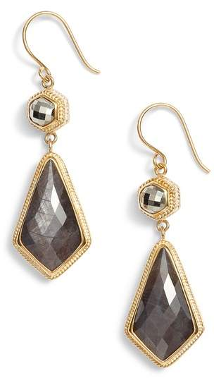 Anna Beck Grey Sapphire & Pyrite Double Drop Earrings