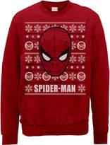 Marvel Comics The Amazing Spiderman Face Red Christmas Sweatshirt