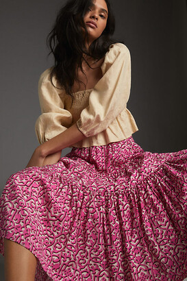Anthropologie Marcella Tiered Midi Skirt By in Pink Size S
