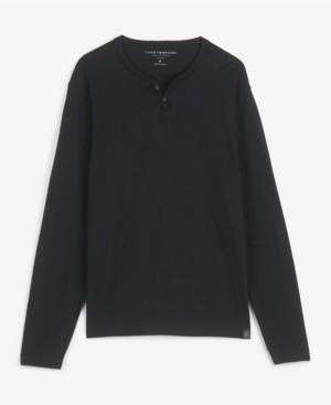 Lucky Brand Men's Long Sleeve Mineral Wash Button Notch Knit T-shirt