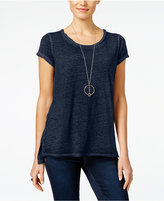INC International Concepts Petite High-Low Burnout T-Shirt, Only at Macy's