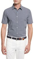 Michael Kors William Printed Short-Sleeve Sport Shirt, Navy