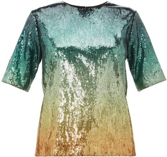 Mary Katrantzou Roy Degrade Sequinned Top - Green Multi