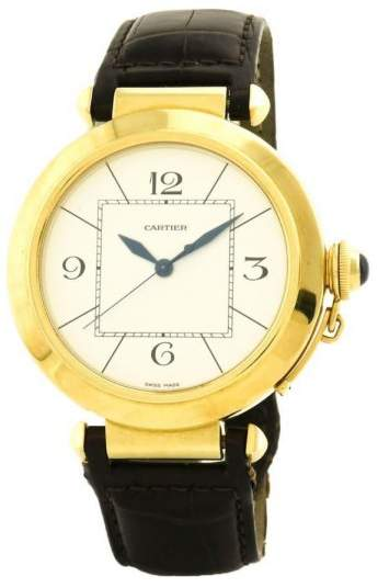 Cartier Pasha W3019551 18K Yellow Gold & Leather Automatic 42mm Mens Watch