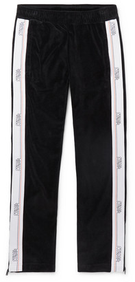 Heron Preston Logo-Webbing Trimmed Cotton-Blend Velvet Track Pants