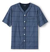 Lands' End Men's Short Sleeve Broadcloth Pajama Top-Indigo Slate Plaid
