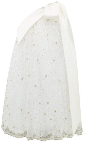 Richard Quinn One-shoulder Crystal-embellished Tulle Dress - Ivory