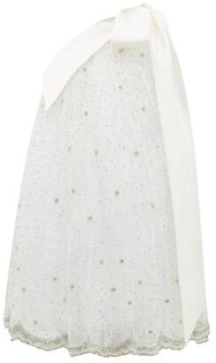 Richard Quinn One-shoulder Crystal-embellished Tulle Dress - Womens - Ivory