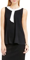 Vince Camuto Contrast Collar Sleeveless Blouse